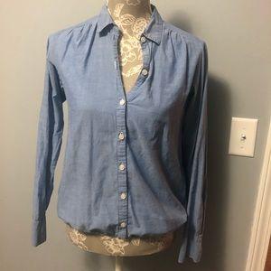 LOFT Denim Color Linen Shirt Size Small